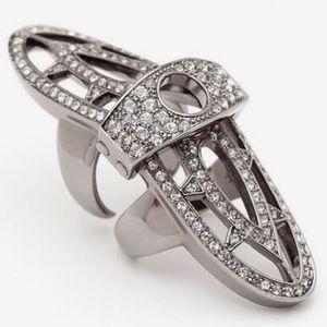 CC Skye Renaissance Gunmetal Crystal Knuckle Ring